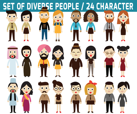 Illustration for Set of full body diverse business people.infographic elements.flat icons design.graphic illustration. - Royalty Free Image