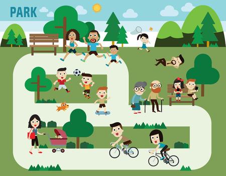 Illustration pour people in the park infographic elements flat design illustration - image libre de droit