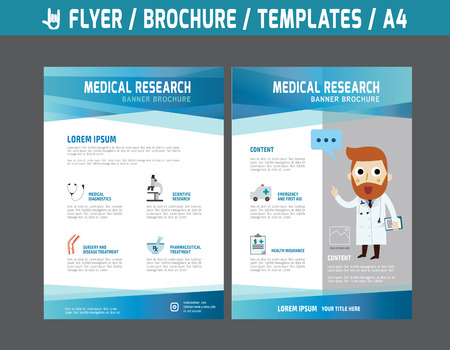 Illustration pour Flyer multipurpose design vector template in A4 size.Templates or Banners for Medical and Health Care concept.abstract brochure modern style.wellness marketing  illustration. - image libre de droit