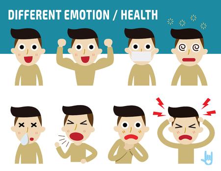 different emotion faces.healthy concept,isolated on white backdrop