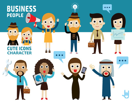 set difference of business people.flat cartoon icon design.illustration isolated on white background.