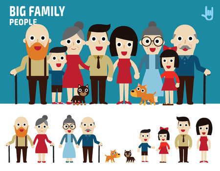 Illustration for big family. collection of cartoon full body flat design. illustration isolated on white background. - Royalty Free Image