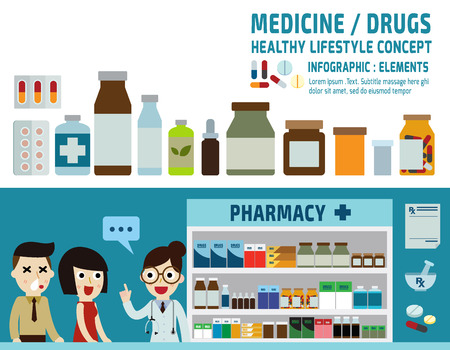 Illustration pour drugs icons: pills capsules and prescription bottles.pharmacy drugstore.infographic elements.wellness concept.banner header blue for website and magazine.illustration isolated on white background. - image libre de droit