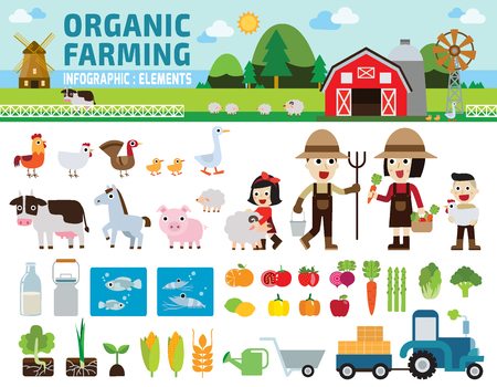 Ilustración de Agriculture and Farming.infographic elements concept.illustration - Imagen libre de derechos