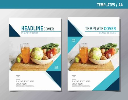 Illustration pour flyer leaflet brochure template A4 size design. abstract  flat vector modern multipurpose style. annual report book cover layout. - image libre de droit