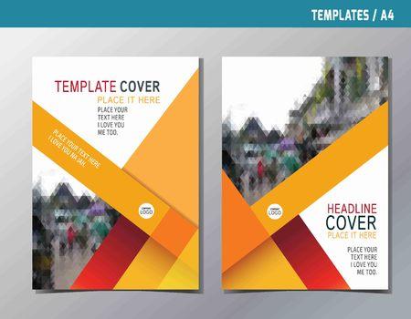 Ilustración de red yellow abstract  flat vector annual reportleaflet brochure template A4 size designflyer modern multipurpose stylebook cover layout design - Imagen libre de derechos