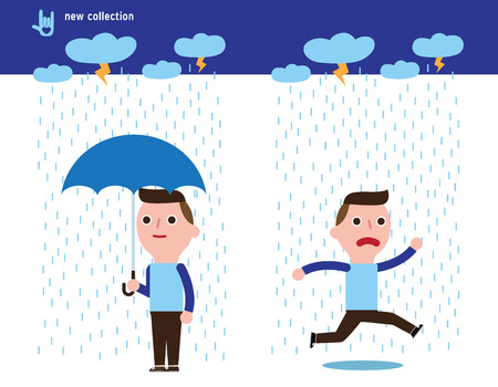 Man with Umbrella Standing Under the Rain.Flat Vector Illustration isolated on white background.