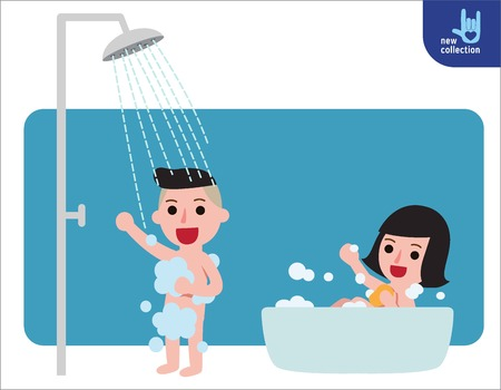 Ilustración de Happy boy and girl taking shower in bathroom.Shower with running water. People healthy lifestyle concept.Vector flat style cartoon character design illustrationIsolated on white background. - Imagen libre de derechos