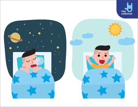 Illustration for A happy boy wake up on the stretching bed.and sleeping. good morning and good night.People healthy lifestyle concept.Vector flat style cartoon character design illustrationIsolated - Royalty Free Image