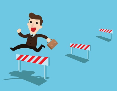 Ilustración de Happy Businessman jumping over ascending obstacles like hurdle race.Business Overcome obstacles concept.Vector flat cartoon character design illustration. Isolated on background. - Imagen libre de derechos