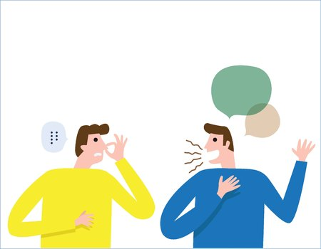 Illustrazione per Halitosis, Bad breath. People talk. man covers nose with hand showing that something stinks. health care concept. vector people flat design illustration isolated background. - Immagini Royalty Free