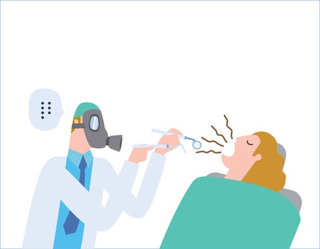 Illustrazione per Male dentist Medical treatment to a female patient at the clinic.wearing a gas mask. halitosis, Bad breath. health care concept vector people flat design illustration isolated background. - Immagini Royalty Free