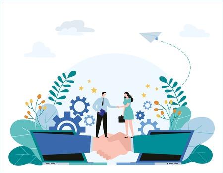 Photo pour partnership, hand shake vector illustration banner. Business concept. flat cartoon character design for web - image libre de droit