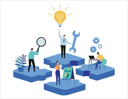 Illustrazione per Finding new ideas. problem solving. Vector illustration banner.Teamwork search for solutionsMiniature people team workingflat cartoon design for web mobile - Immagini Royalty Free