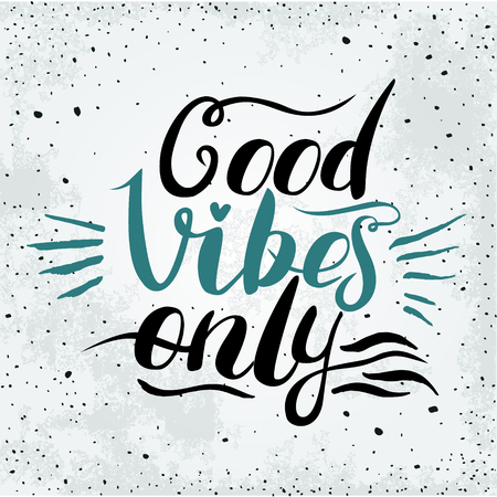 Illustration for Good Vibes Only hand lettering. Handmade vector calligraphy - Royalty Free Image