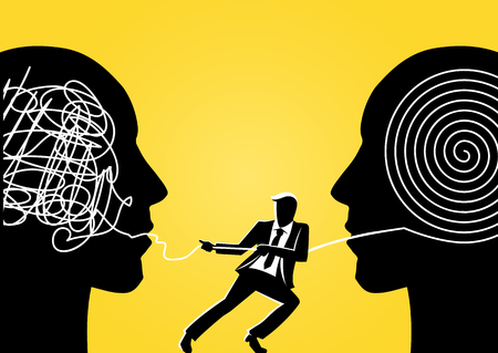 Ilustración de An illustration of a businessman trying to unravel tangled rope from giant head - Imagen libre de derechos