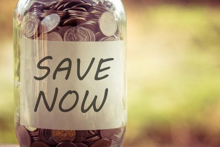 Photo pour save money for investment concept money in the glass with filter effect retro vintage style - image libre de droit