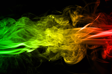 Photo pour abstract background smoke curves and wave reggae colors green, yellow, red colored in flag of reggae music - image libre de droit
