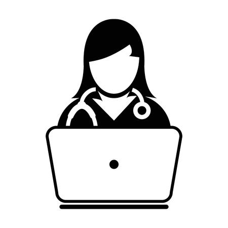 Illustration pour Woman Doctor Icon Vector Online Consultation With Laptop Computer Avatar for Live Chat Advice for Patient In Glyph Pictogram illustration - image libre de droit