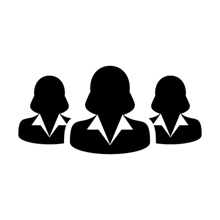 Ilustración de Women Team Icon User Group of People for Business Management Persons Avatar Symbol in Glyph Pictogram illustration - Imagen libre de derechos