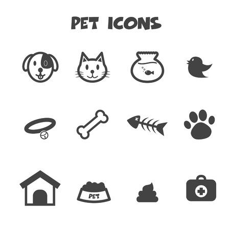 pet icons, mono vector symbols