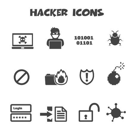 Ilustración de hacker icons, mono vector symbols - Imagen libre de derechos