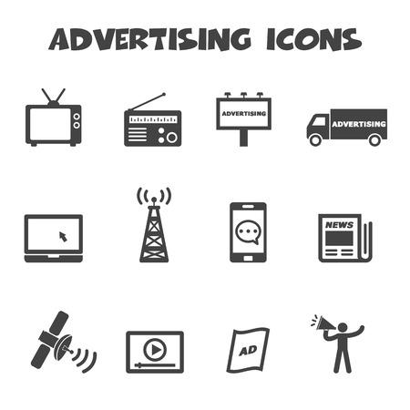 Illustration pour advertising icons, mono symbols - image libre de droit