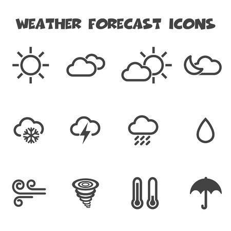 Illustration pour weather forecast icons, mono vector symbols - image libre de droit