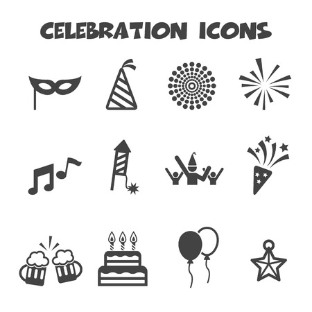 Illustration for celebration icons, mono vector symbols - Royalty Free Image