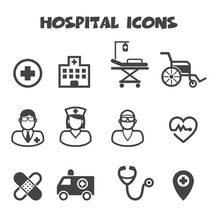 Illustration pour hospital icons, mono vector symbols - image libre de droit