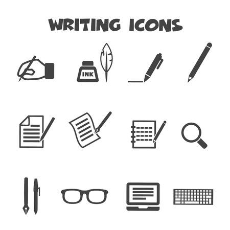 Illustration pour writing icons, mono vector symbols - image libre de droit