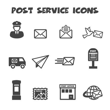 Illustration pour post service icons, mono vector symbols - image libre de droit