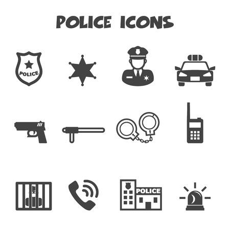 Ilustración de police icons, mono vector symbols - Imagen libre de derechos