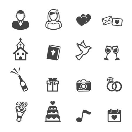 Illustration pour wedding ceremony icons, mono vector symbols - image libre de droit