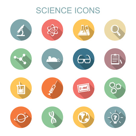 Illustration pour science long shadow icons, flat symbols - image libre de droit