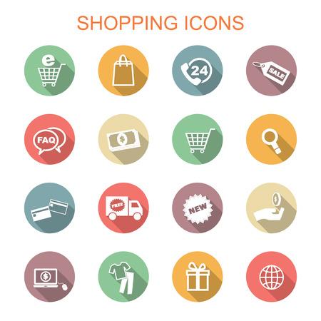 Ilustración de shopping long shadow icons, flat vector symbols - Imagen libre de derechos