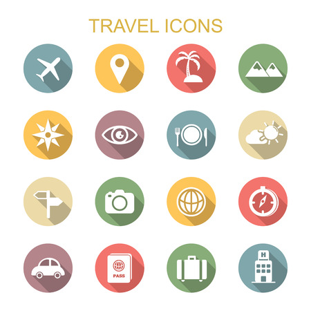 Illustration pour travel long shadow icons, flat vector symbols - image libre de droit