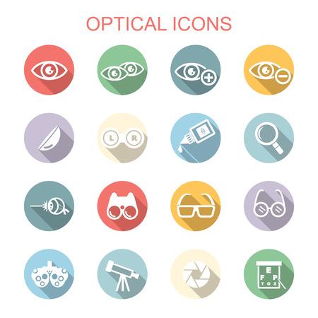 Illustration pour optical long shadow icons, flat vector symbols - image libre de droit