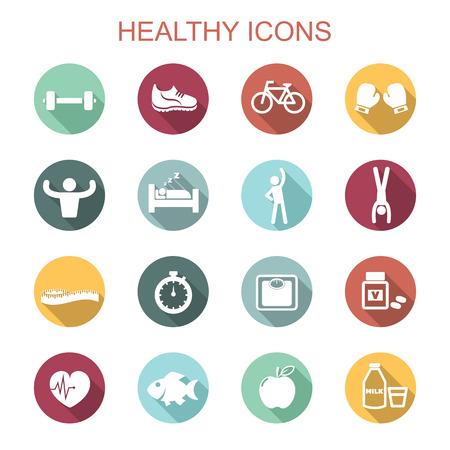 Ilustración de healthy long shadow icons, flat vector symbols - Imagen libre de derechos