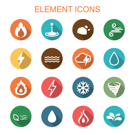 Illustration pour element long shadow icons, flat vector symbols - image libre de droit