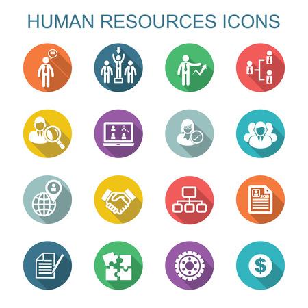 Illustration pour human resources long shadow icons, flat vector symbols - image libre de droit