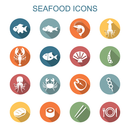 seafood long shadow icons, flat vector symbols
