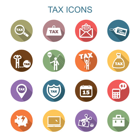 Photo pour tax long shadow icons, flat vector symbols - image libre de droit