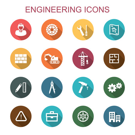 Illustration pour engineering long shadow icons, flat vector symbols - image libre de droit