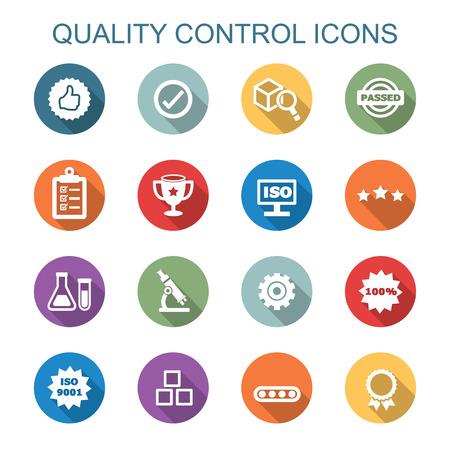 Illustration pour quality control long shadow icons, flat vector symbols - image libre de droit