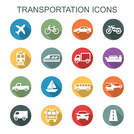 Photo pour transportation long shadow icons, flat vector symbols - image libre de droit