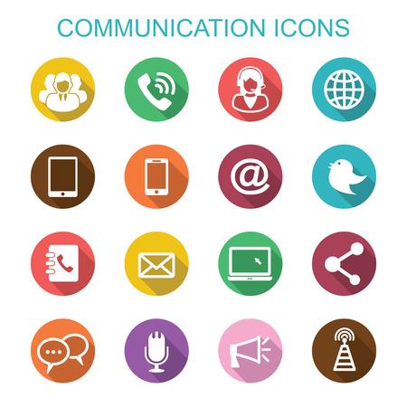 Foto de communication long shadow icons, flat vector symbols - Imagen libre de derechos