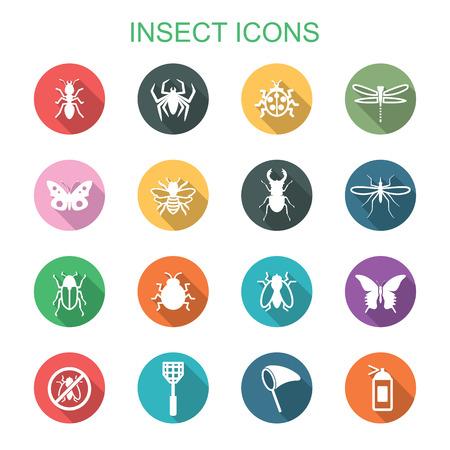 Ilustración de insect long shadow icons, flat vector symbols - Imagen libre de derechos
