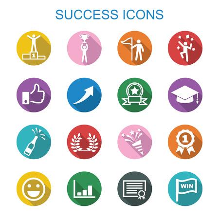 Illustration pour success long shadow icons, flat vector symbols - image libre de droit