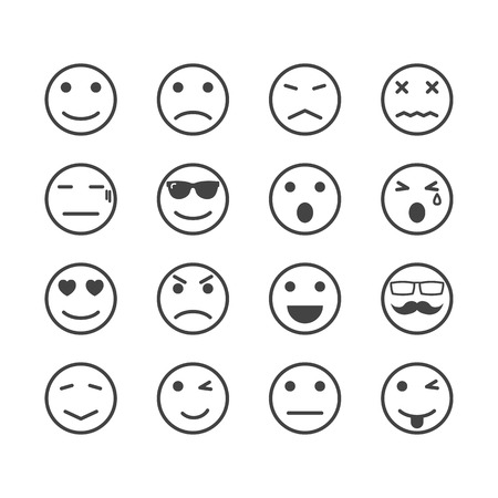 human emotion icons, mono vector symbols